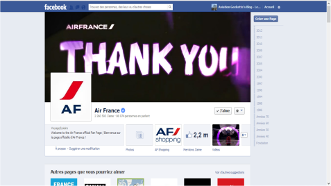 Page facebook Air France